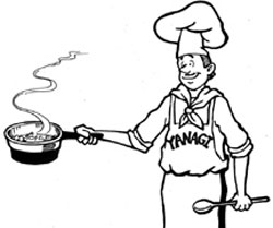 cook wearing an apron that says Yanagi