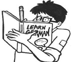 student studying German