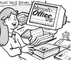 woman working on a computer with MS Office 02