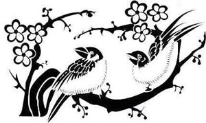 print of two birds in a tree