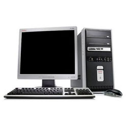 computer monitor and tower