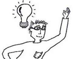 man with an idea and raising his hand