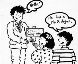 man saying hello and holding a sign that says Cho Song-min, and a boy telling a girl he has a Ph.D. degree