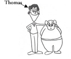 tall skinny man with an arrow pointing at him saying Thomas standing next to a short heavy set older man
