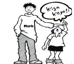 "Mark holding his hand over a shorter character, the shorter character saying ""k'i-ga k'ǒ-yo"""