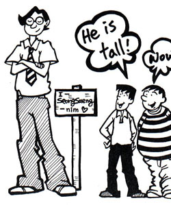 two shorter characters looking at and describing a third man as tall!