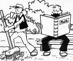 Man raking leaves in the park while another man studies math on a park bench.