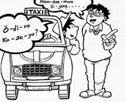 man talking to taxi driver.