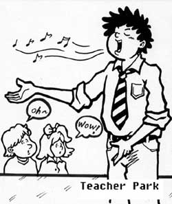 Teacher Park singing.