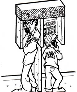 Mark standing next to a taller man at a payphone.