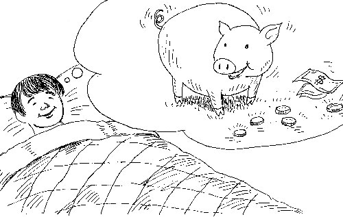 boy dreaming of a pig and money