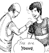 "man with his hand on a boy's shoulder saying ""You are young"""