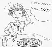 boy eating a salty piece of pizza