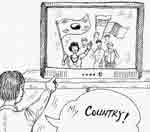 "character pointing at flags on t.v. saying ""My country..."""