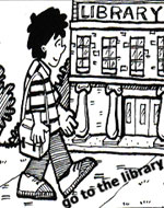 boy walking to the library