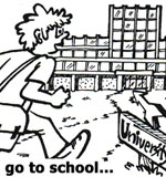 character running to school