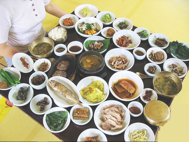 Table of a Korean Meal with Ban-chan.