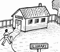 student walking up to a small one room library
