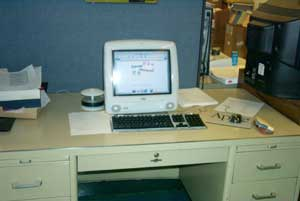 computer sitting on a desk.