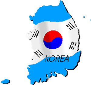 the shape of Korea covered in the Korean flag