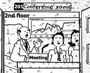 meeting in Conference room 201 on the second floor