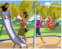 children playing on a swing and a slide