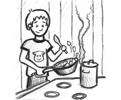 individual cooking on the stove